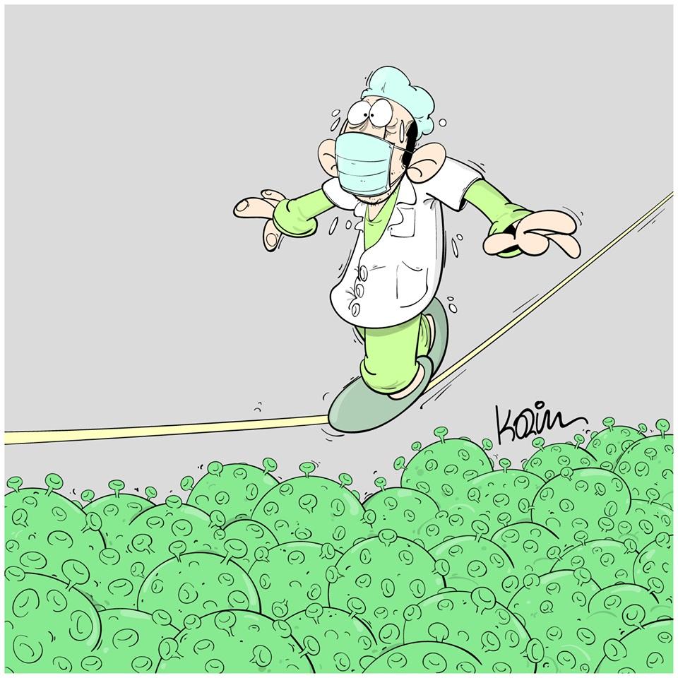 dessin d'actualité humoristique de Karim sur l'épidémie de coronavirus et les mesures sanitaires nécessaires