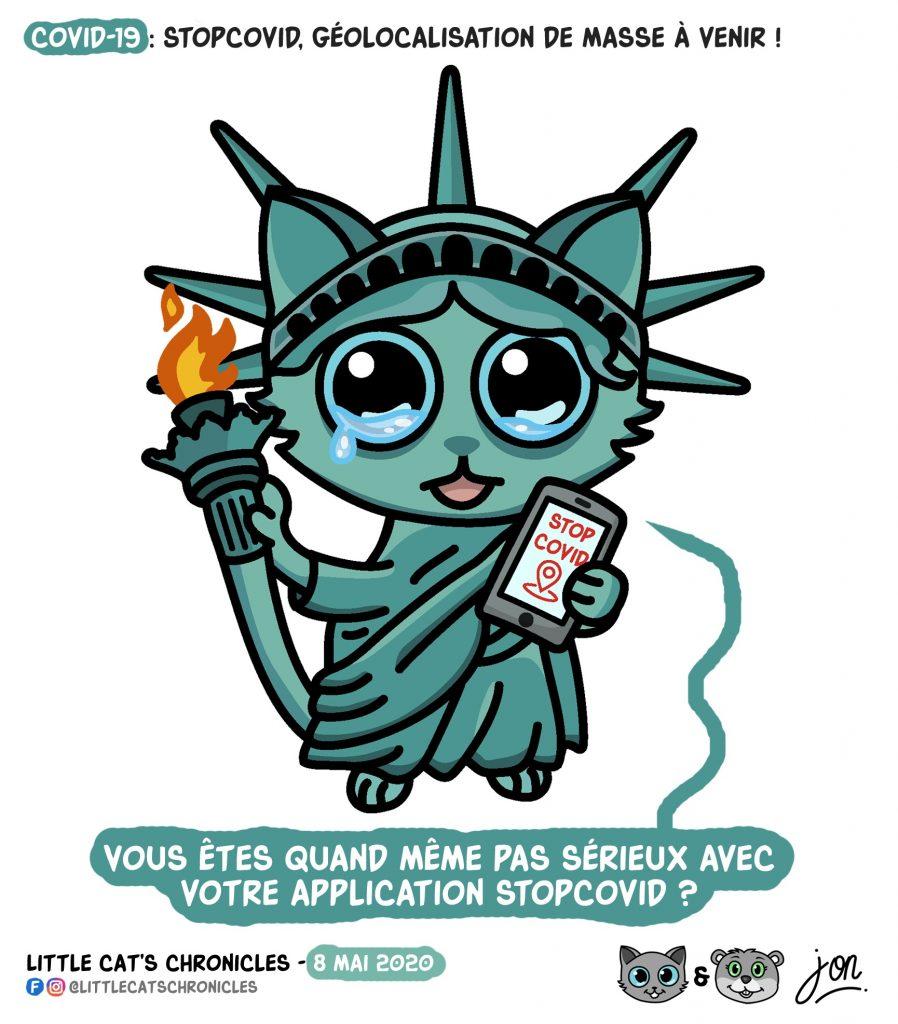 dessin humoristique des Little Cat's Chronicles sur le déconfinement et l'application StopCovid
