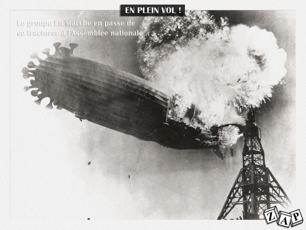 dessin d'actualité de Zap sur le coronavirus, la catastrophe de l'Hindenburg et la division du groupe En Marche