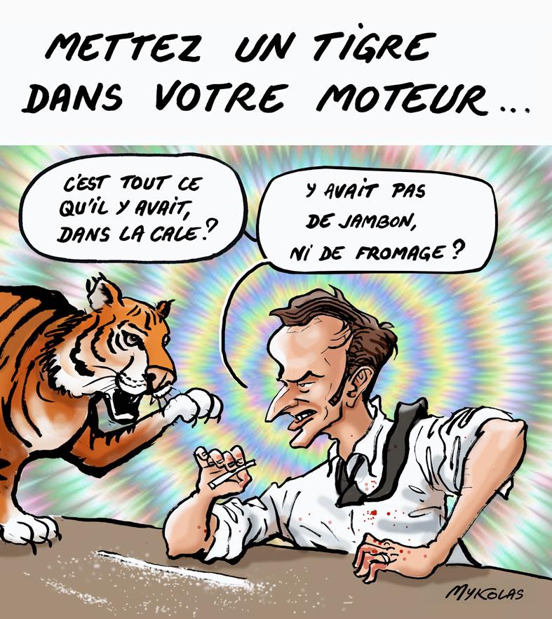 dessin d'actualité humoristique de Mykolas sur le déconfinement et les annonces d'Emmanuel Macron pour la culture