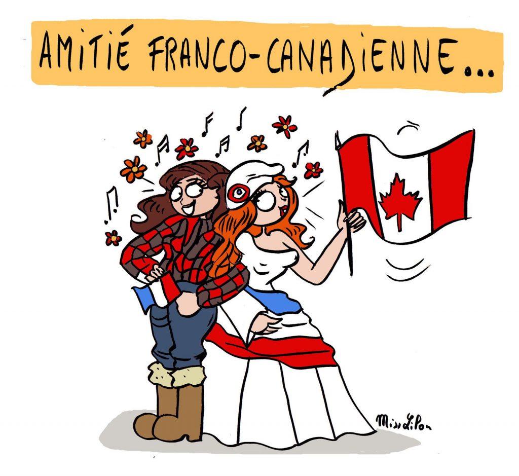 dessin de Miss Lilou sur l'amitié franco-canadienne