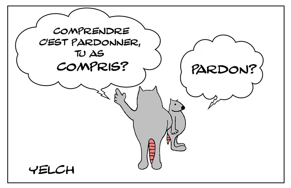 dessin de Yelch sur le pardon et la compréhension