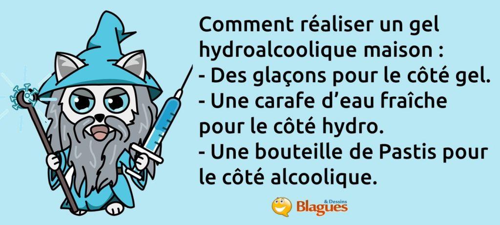blague sur le gel hydroalcoolique