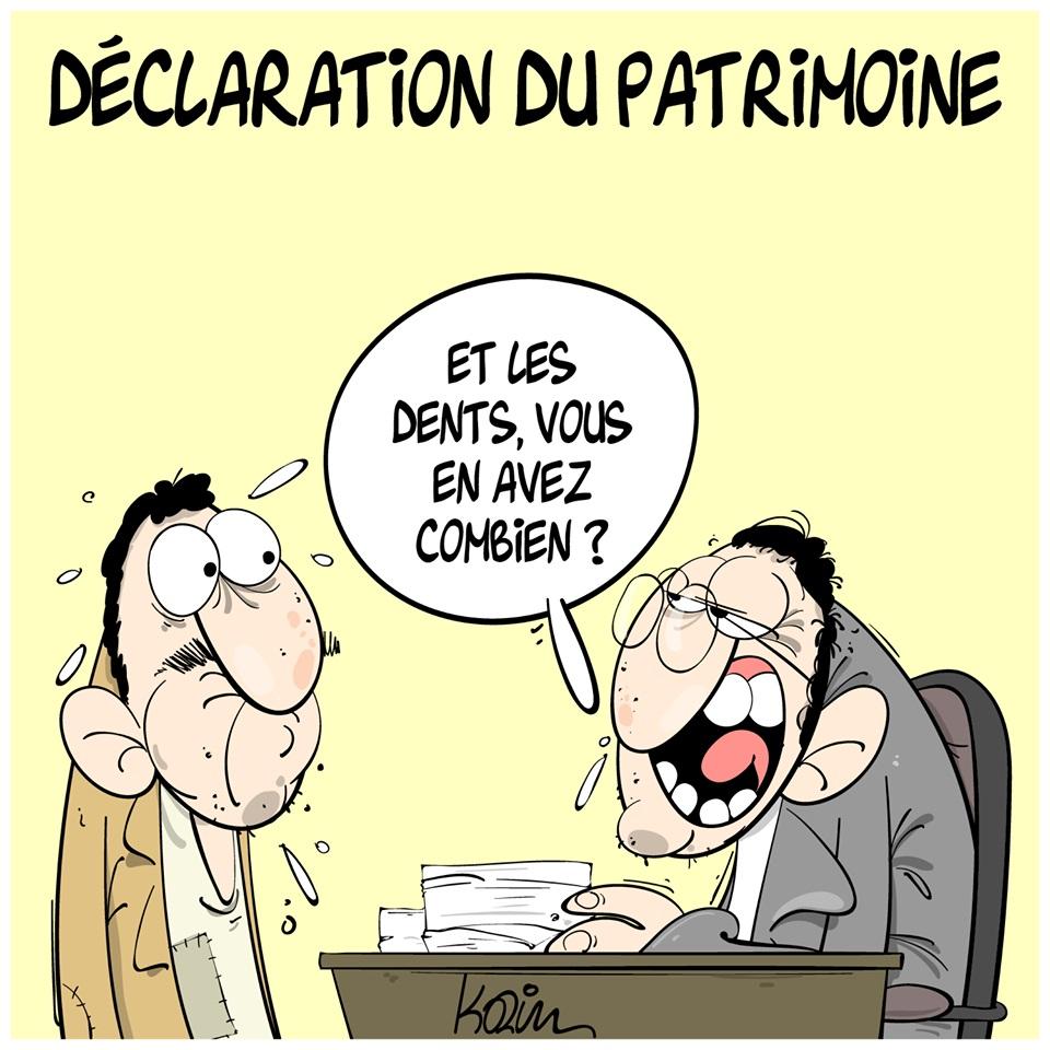 dessin d'actualité humoristique de Karim sur les déclarations du patrimoine