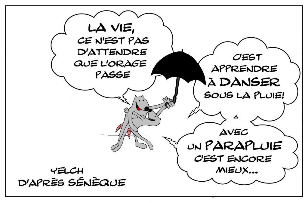 dessin de Yelch sur la vie et les orages de la vie