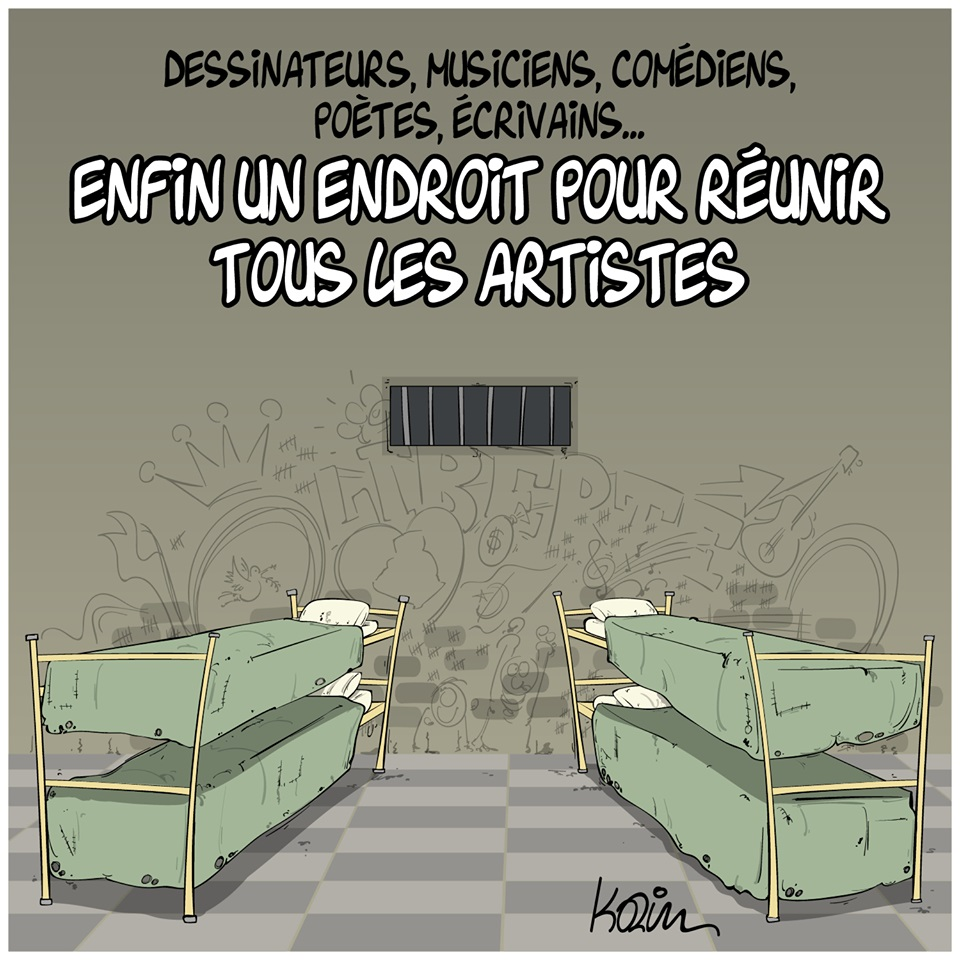dessin d'actualité humoristique de Karim sur la censure et les artistes