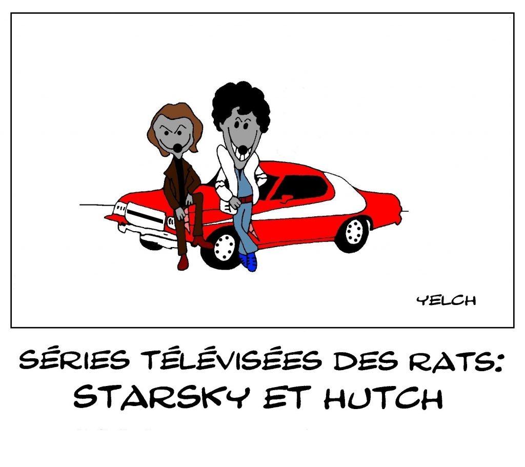dessin de Yelch sur les séries télévisées vues par les rats et Starsky et Hutch