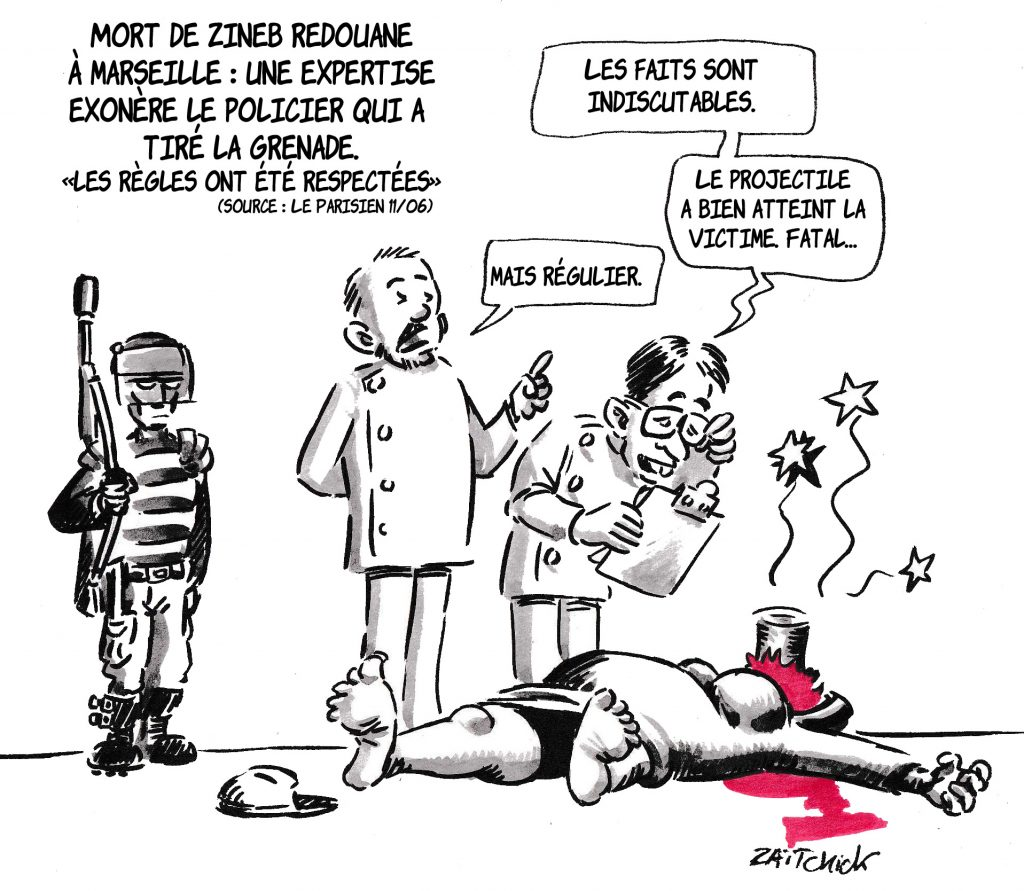 dessin de Zaïtchick sur les conclusions de l'expertise suite à la mort de Zineb Redouane