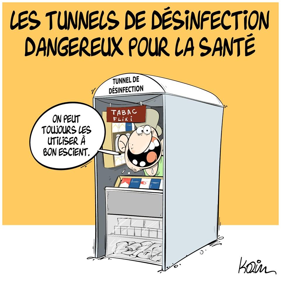 dessin d'actualité humoristique de Karim sur le coronavirus et la dangerosité des tunnels de désinfection