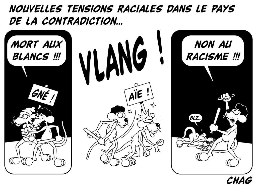 dessin d'humour de Chag sur les tensions raciales aux États-Unis