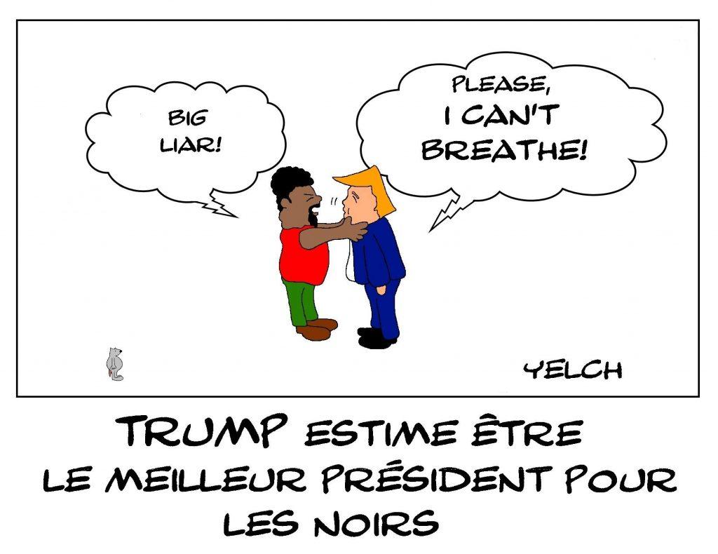 dessin de Yelch sur la violence aux États-Unis et Donald Trump