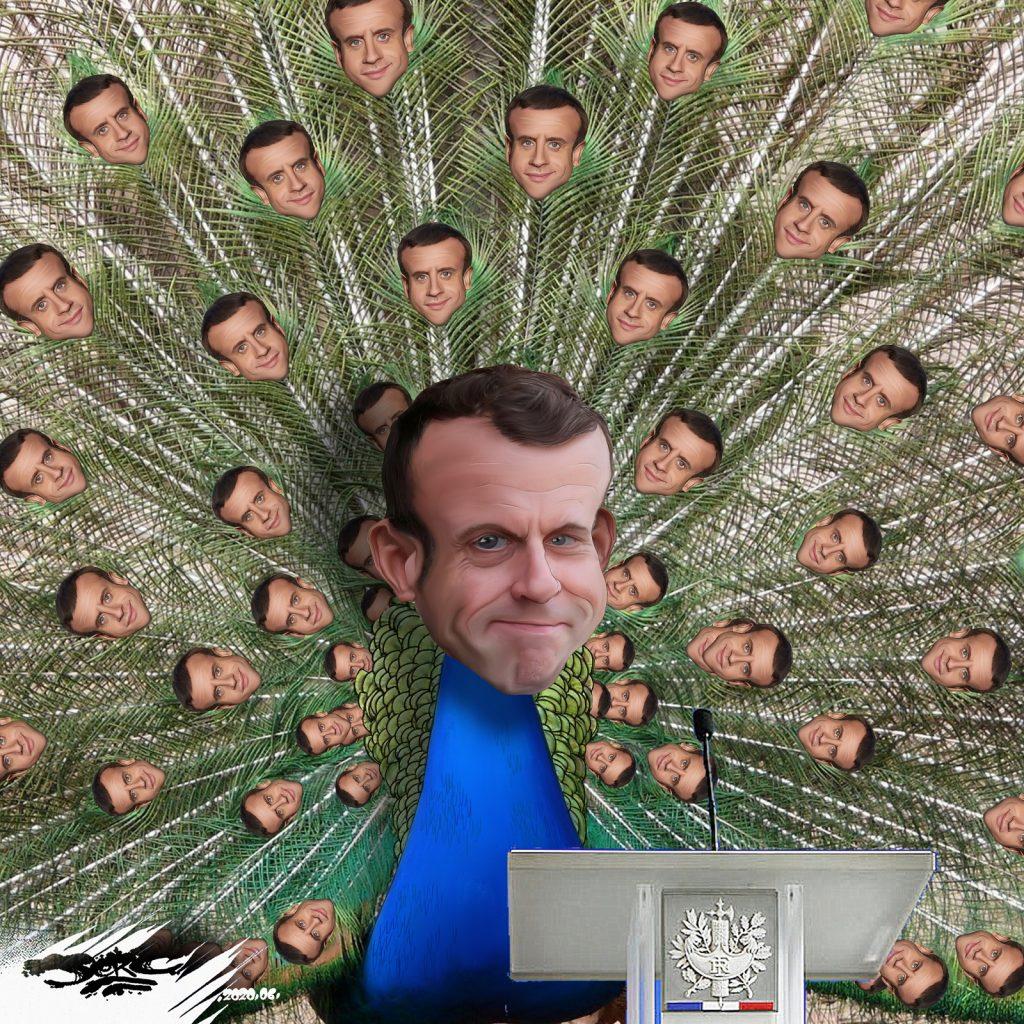 dessin d'actualité humoristique de Jerc sur le coronavirus, le déconfinement et le discours d'Emmanuel Macron