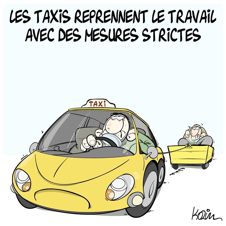 dessin d'actualité humoristique de Karim sur le coronavirus et la reprise de travail des taxis