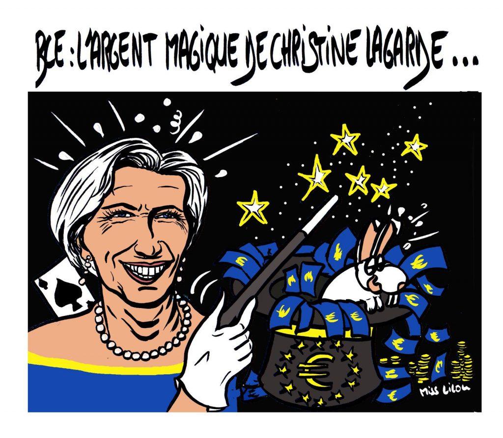 dessin de Miss Lilou sur le coronavirus et l'argent magique de la Banque Centrale Européenne