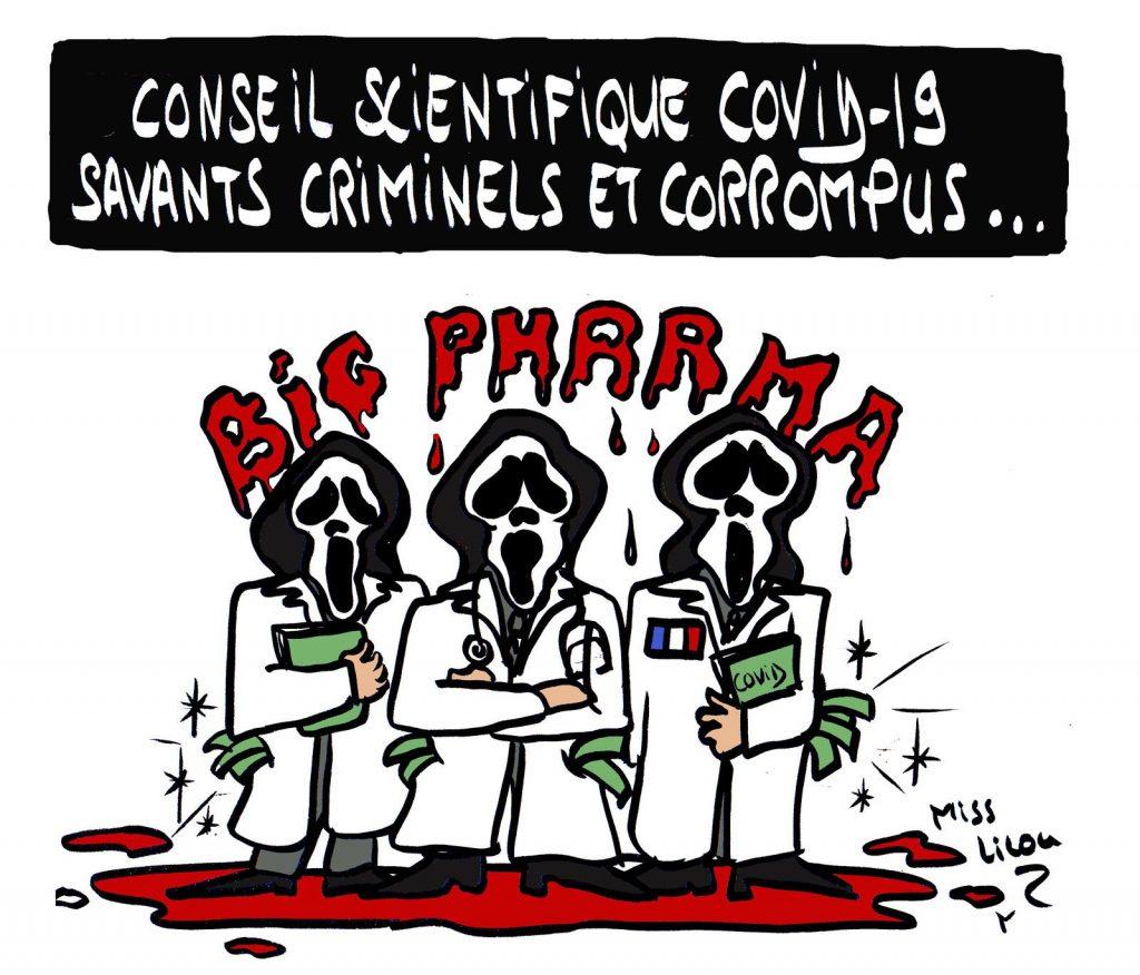 dessin de Miss Lilou sur le coronavirus et le Conseil Scientifique
