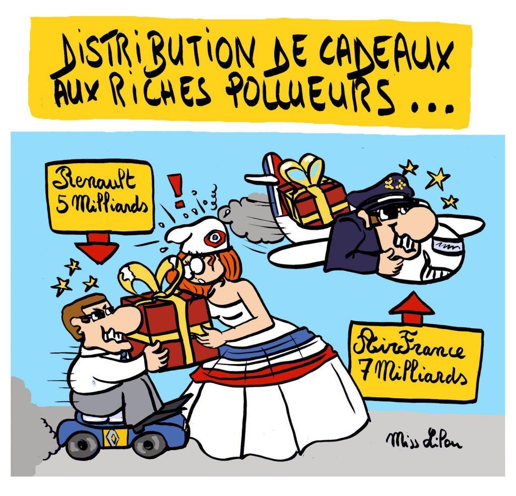 dessin de Miss Lilou sur les aides distribuées aux entreprises pour lutter contre la crise économique