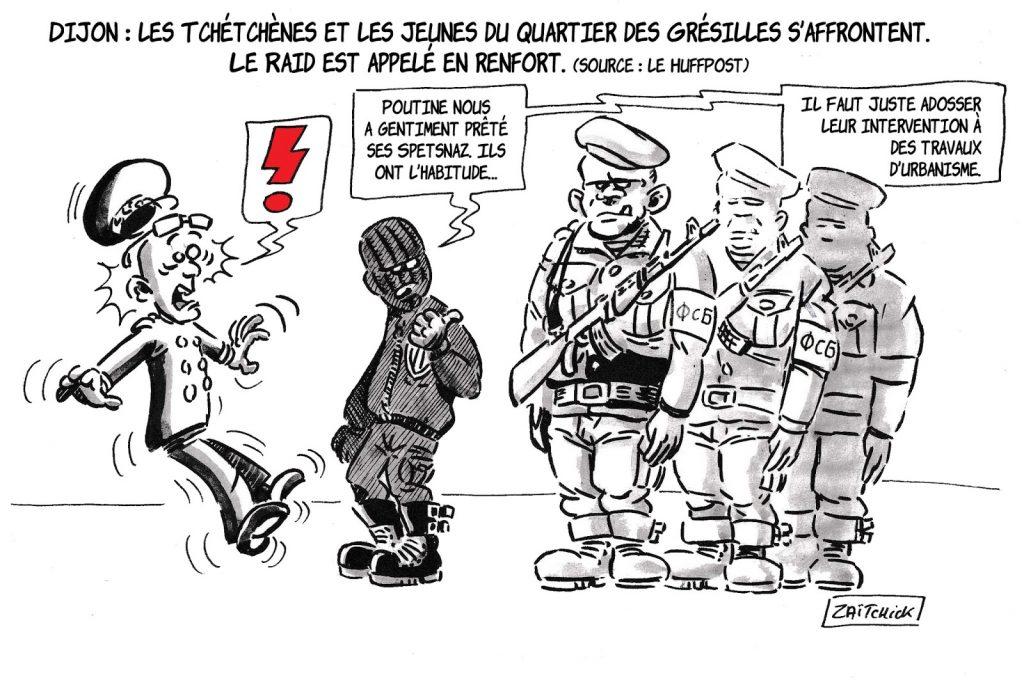 dessin de Zaïtchick sur les affrontements à Dijon entre Tchétchènes et jeunes du quartier des Grésilles