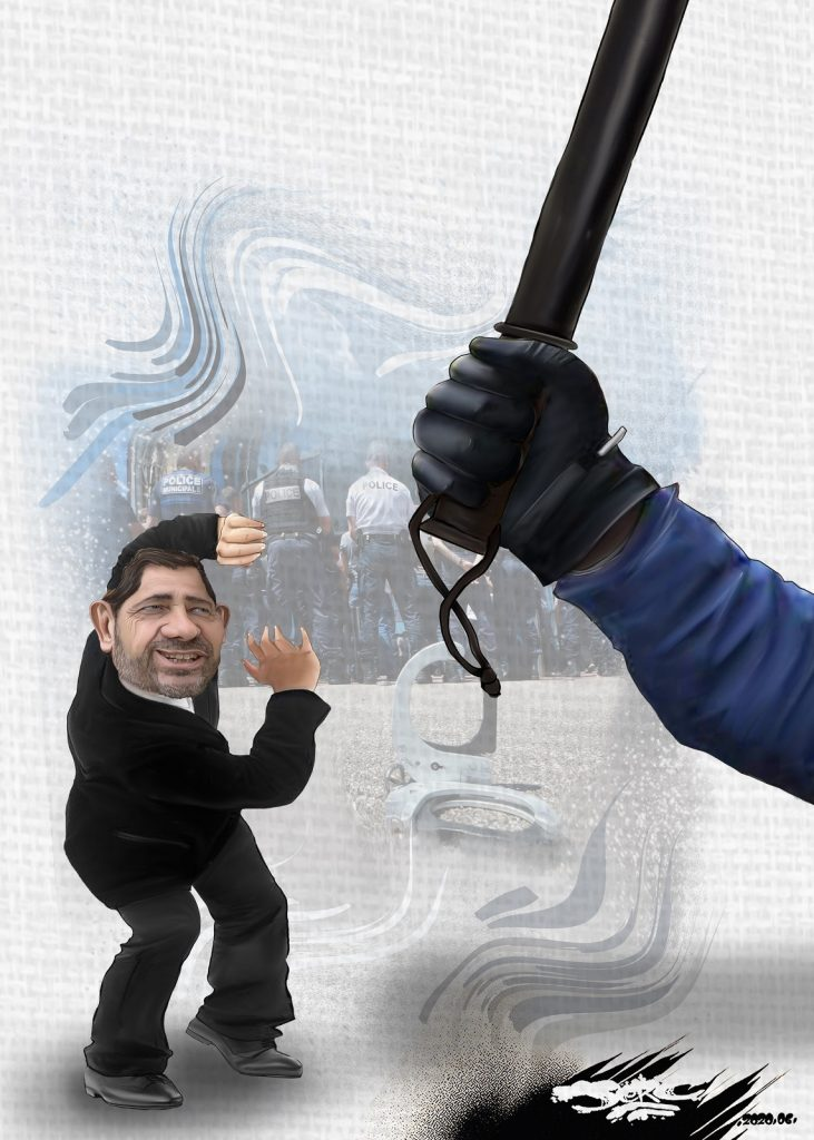 dessin d'actualité humoristique de Jerc sur les rapports entre Christophe Castaner et la police