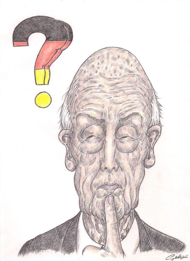 dessin d'actualité de L. Galy sur Valéry Giscard d'Estaing et la plainte d'une journaliste allemande à son encontre
