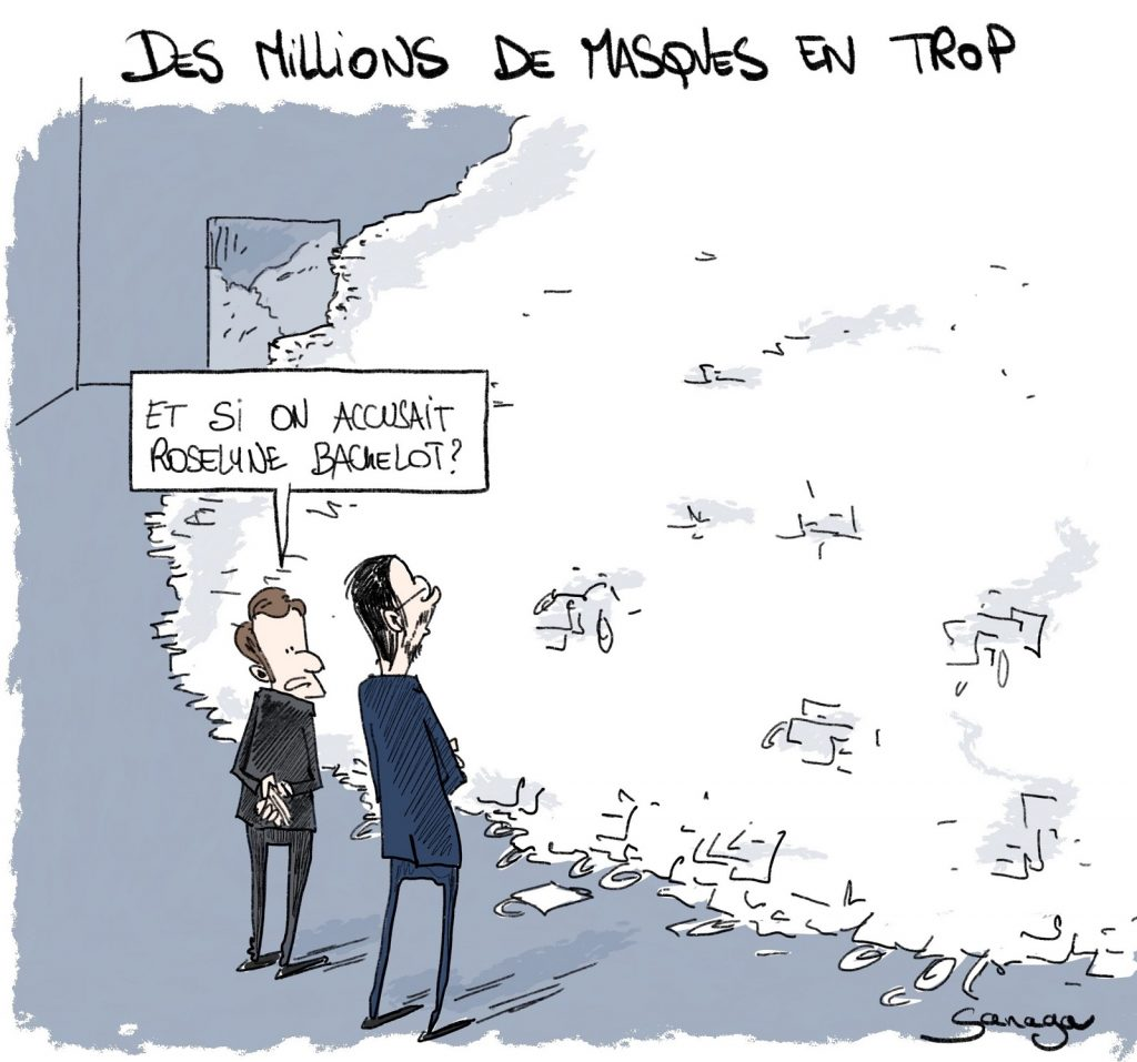 dessin d'actualité de Sanaga sur Emmanuel Macron et les surplus de masques de protection