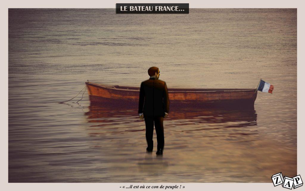 dessin d'actualité de Zap sur Emmanuel Macron et le bateau France