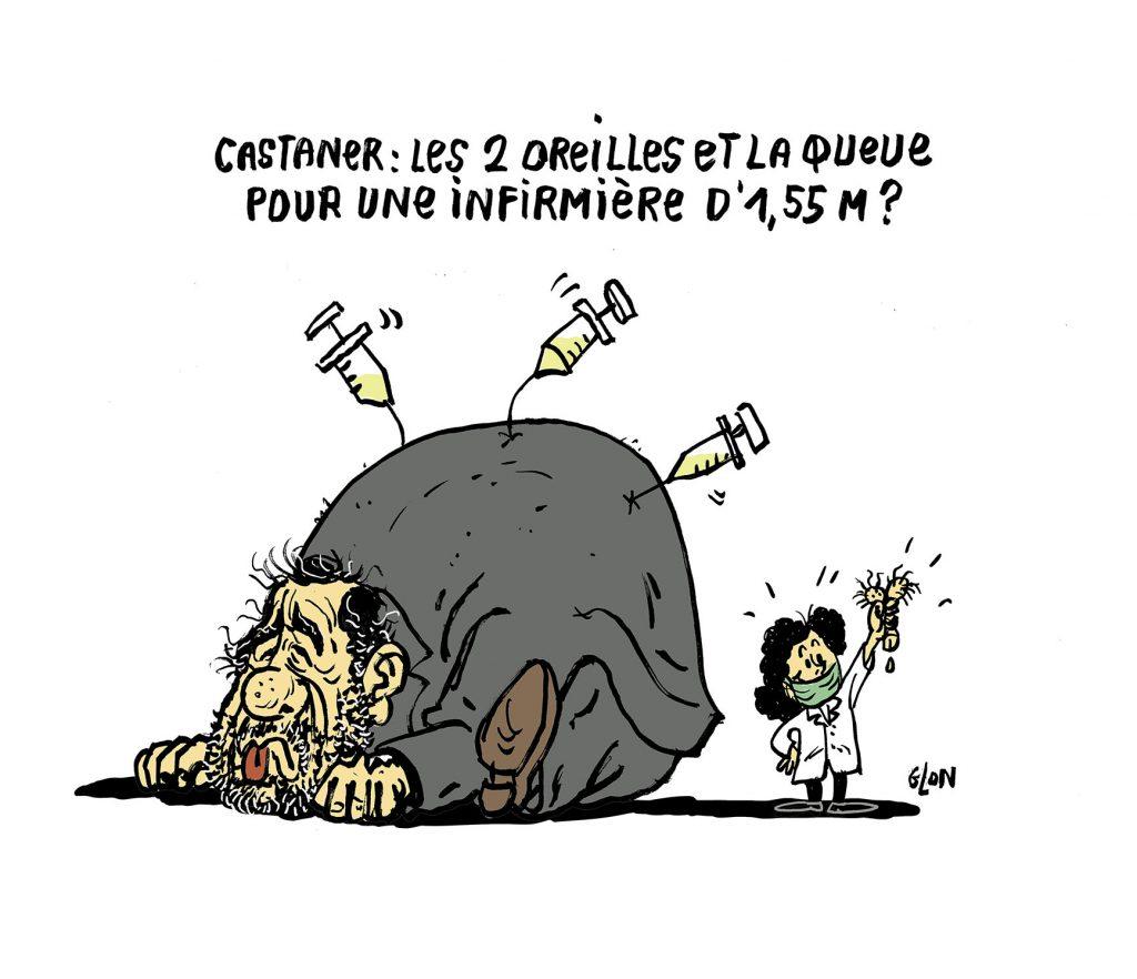 dessin humoristique de Glon sur Christophe Castaner et l'arrestation d'une infirmière lors des manifestations de soignants