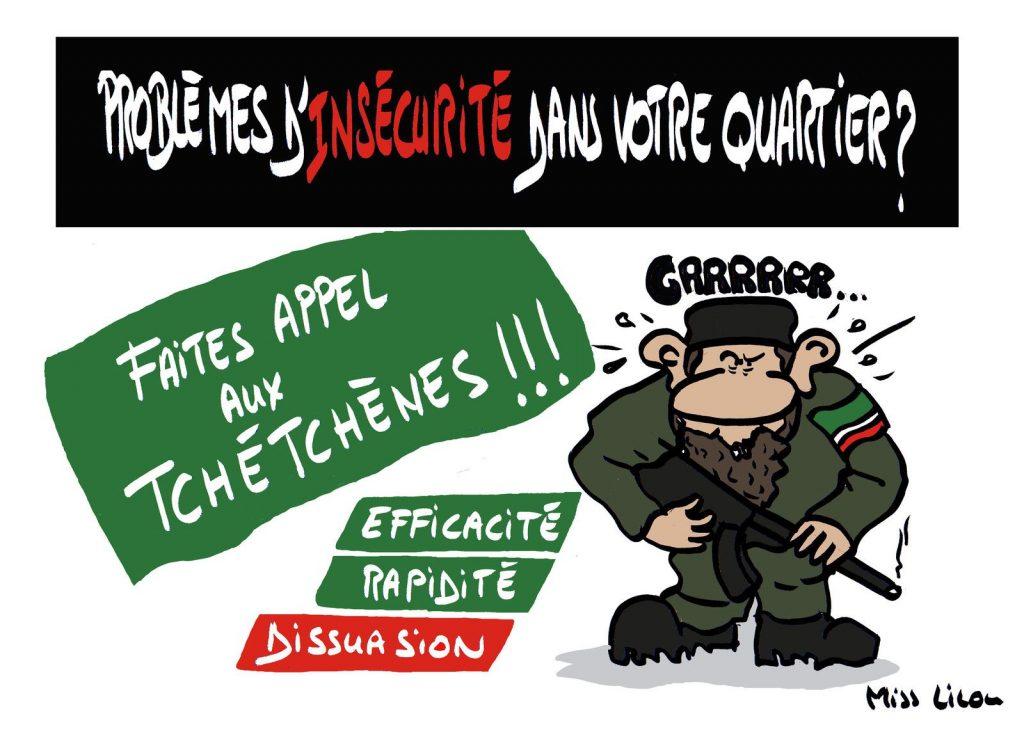 dessin de Miss Lilou sur les affrontements à Dijon entre Tchétchènes et jeunes du quartier des Grésilles