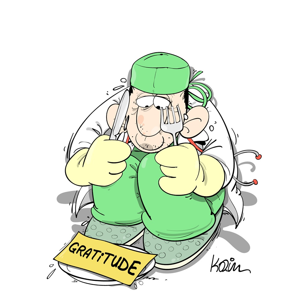 dessin d'actualité humoristique de Karim sur le coronavirus et le manque de gratitude envers les soignants
