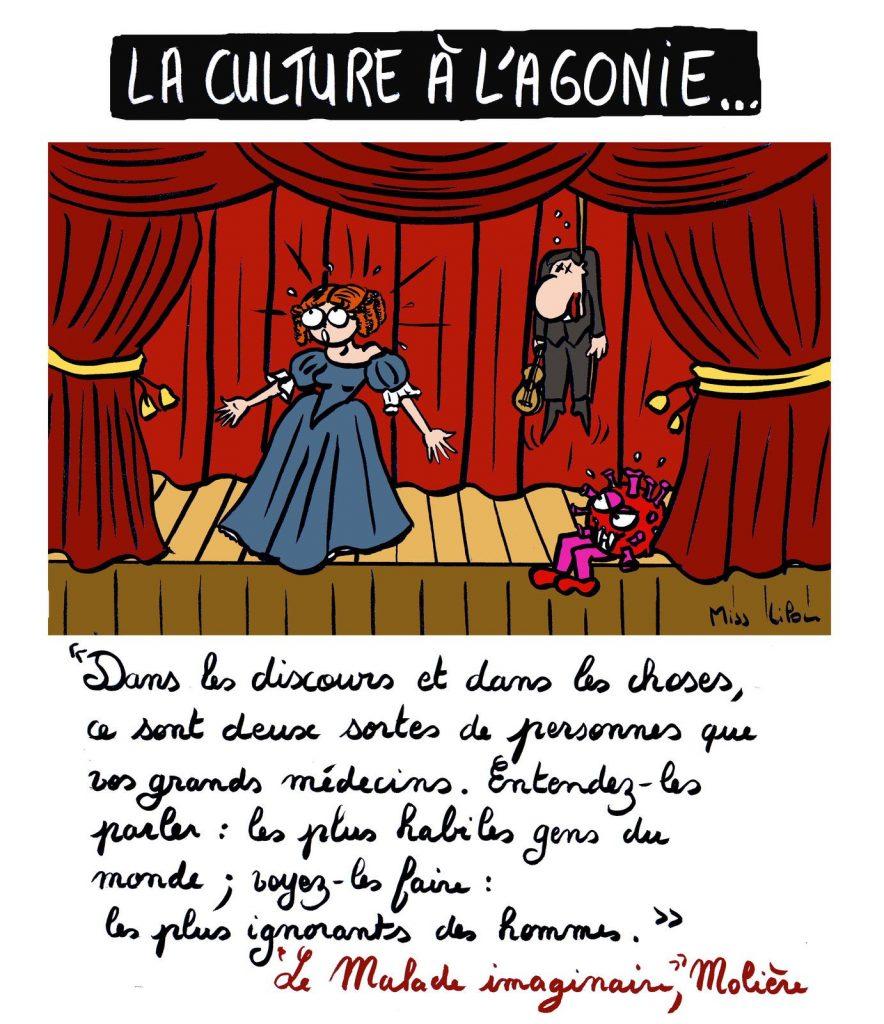 dessin de Miss Lilou sur le monde du spectacle après la crise du coronavirus