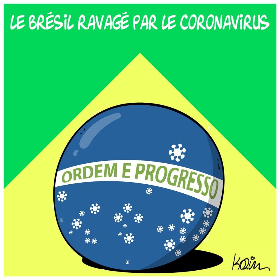 dessin d'actualité humoristique de Karim sur le coronavirus et ses ravages au Brésil