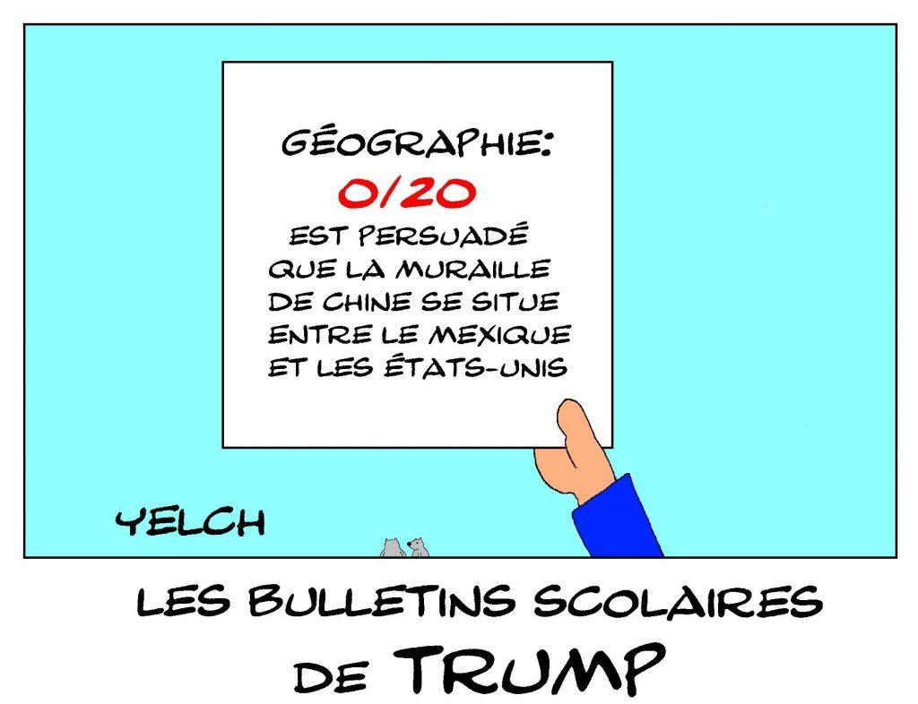 dessin de Yelch sur les bulletins scolaires de Donald Trump