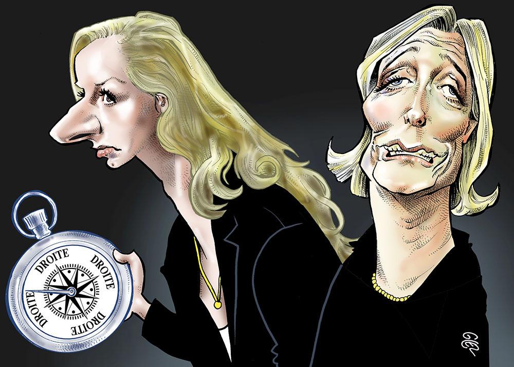 dessin humoristique de Glez sur Marion Maréchal et Marine Le Pen