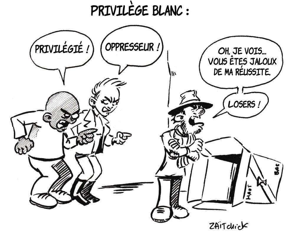 dessin de Zaïtchick sur le racialisme, l'oppression et le privilège blanc