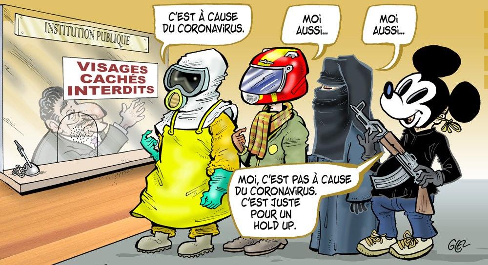 dessin humoristique de Glez sur le coronavirus et les masques de protection