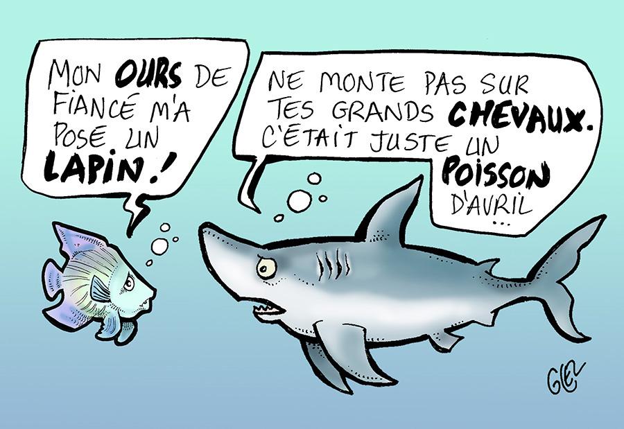 dessin humoristique de Glez sur les poissons d'avril