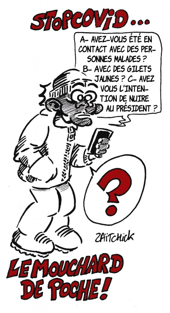 dessin de Zaïtchick sur le déconfinement et l'application mobile StopCovid