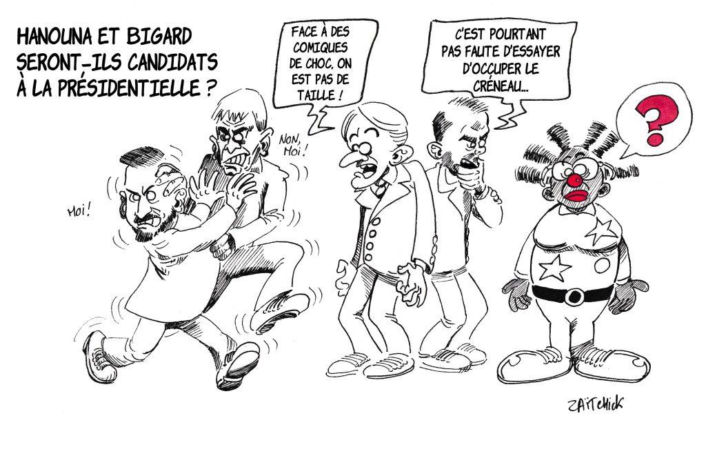dessin de Zaïtchick sur les candidatures potentielles de Cyril Hanouna et Jean-Marie Bigard