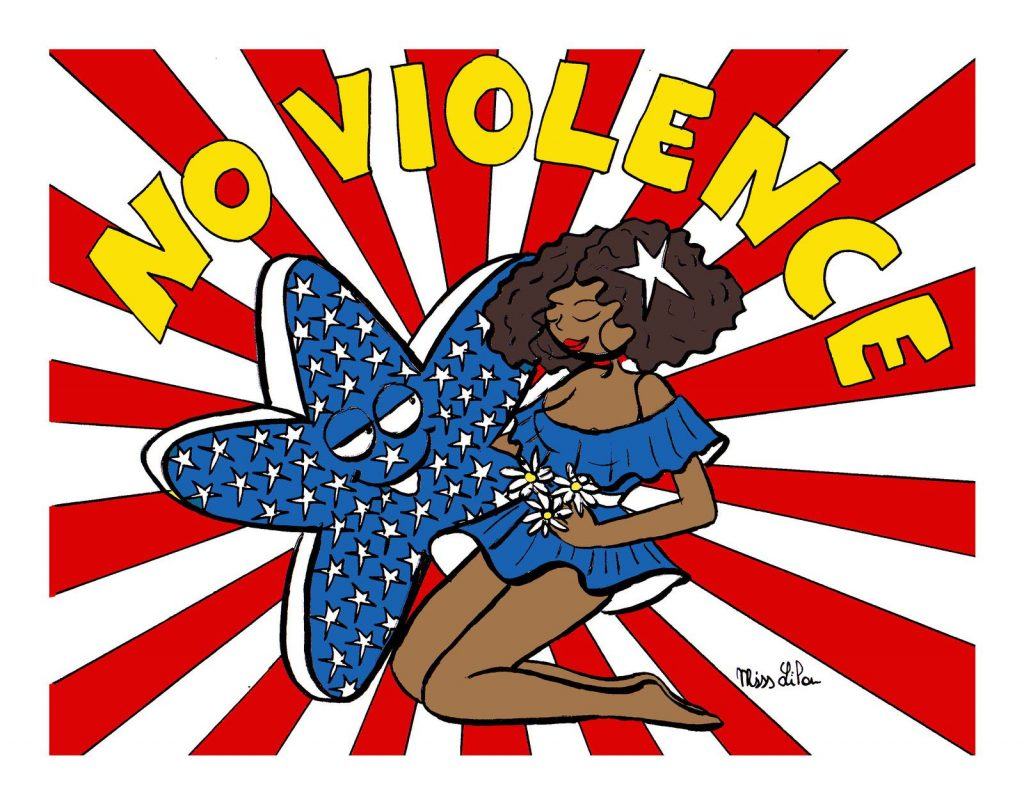 dessin de Miss Lilou sur la violence aux États-Unis
