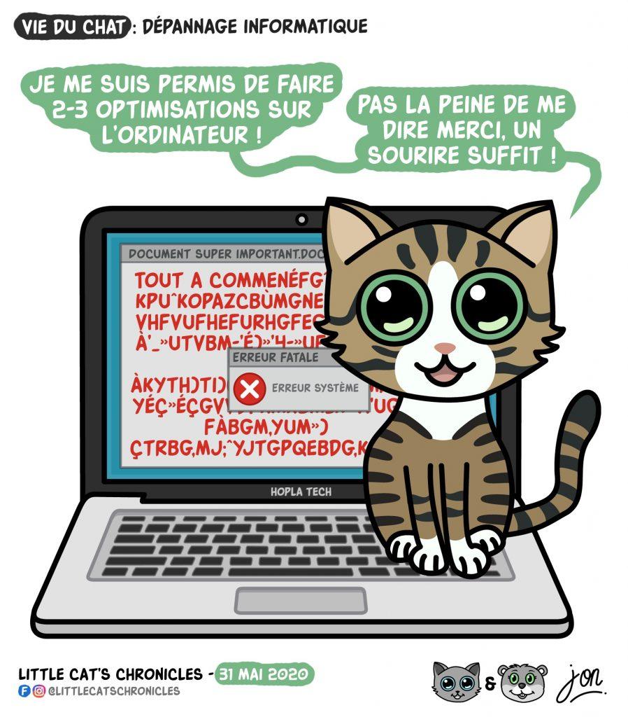 dessin humoristique des Little Cat's Chronicles sur les chats et l'informatique