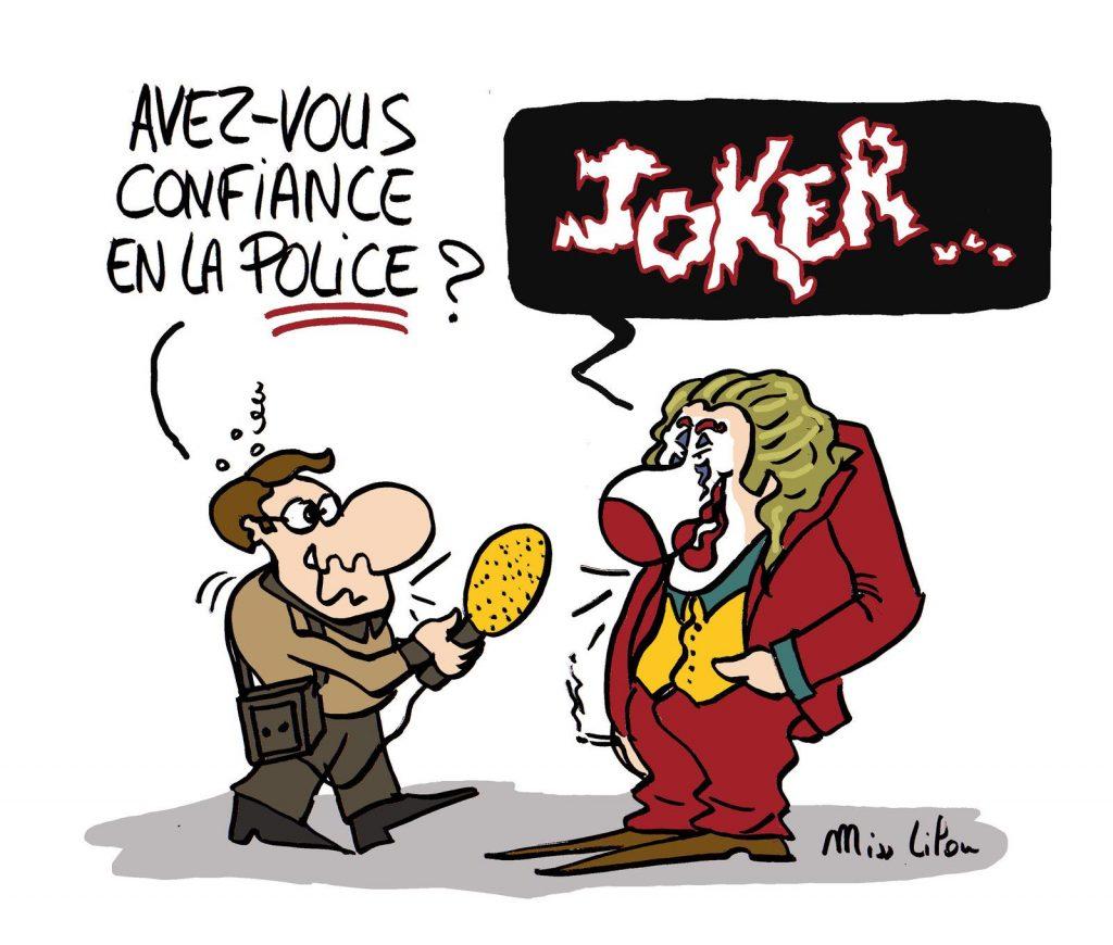 dessin de Miss Lilou sur le Joker et la confiance en la police