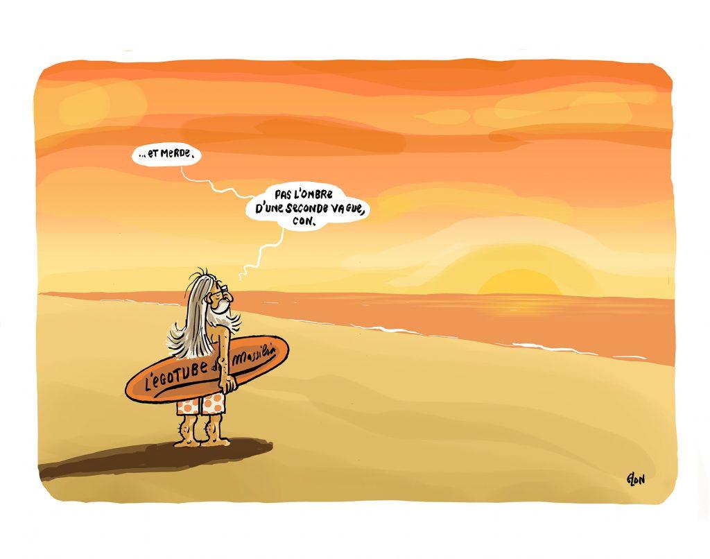 dessin humoristique de Glon sur le déconfinement, la seconde vague et le Professeur Raoult