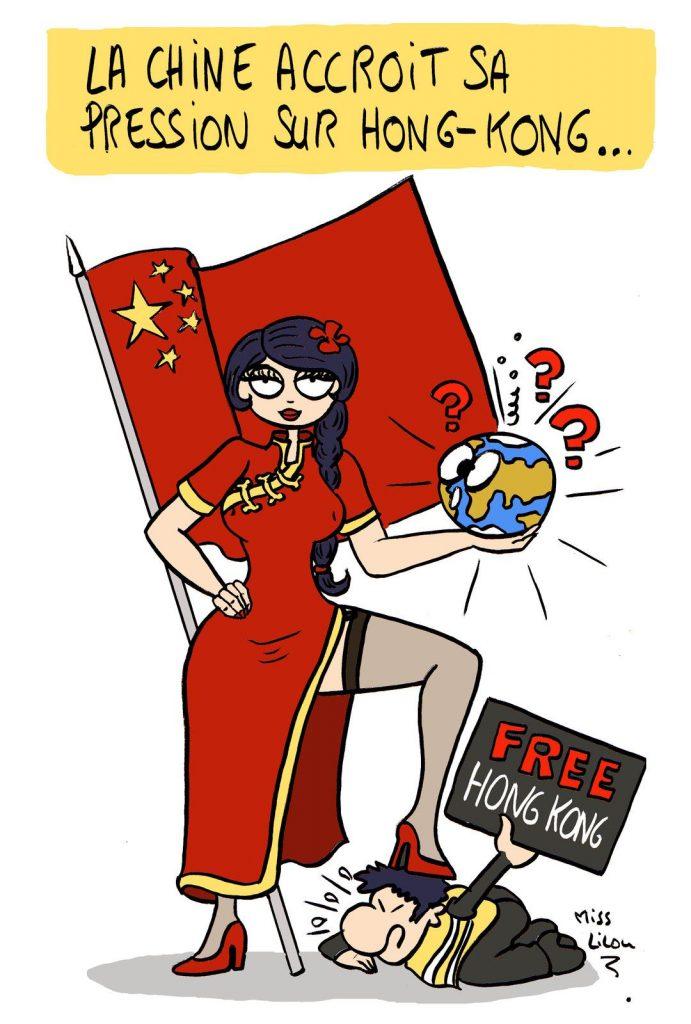 dessin de Miss Lilou sur la Chine et Hong Kong