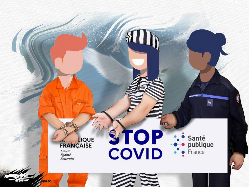 dessin d'actualité humoristique de Jerc sur le déconfinement et l'application mobile StopCovid