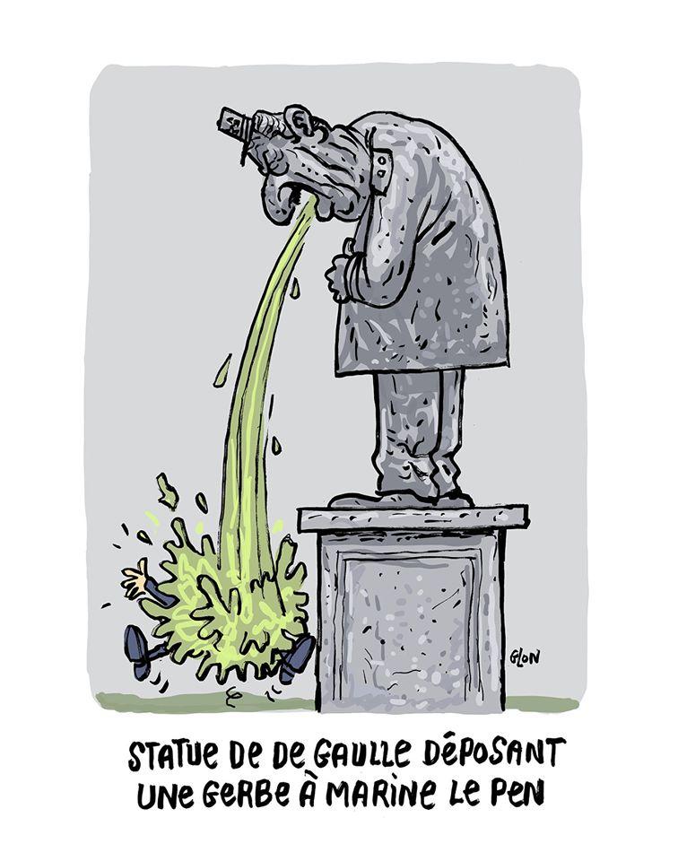 dessin humoristique de Glon sur la visite de Marine Le Pen à l'île de Sein