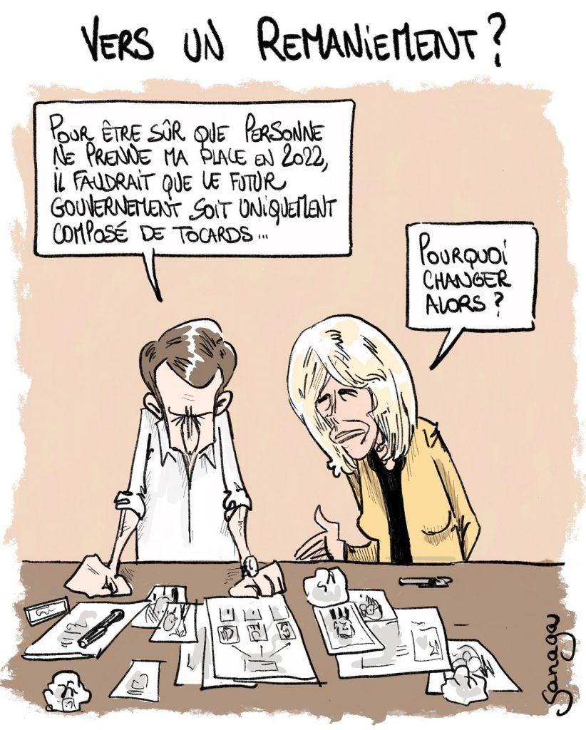 dessin d'actualité de Sanaga sur Emmanuel Macron et le futur remaniement du gouvernement