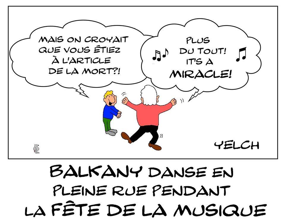 dessin de Yelch sur la danse en pleine rue de Patrick Balkany lors de la fête de la musique