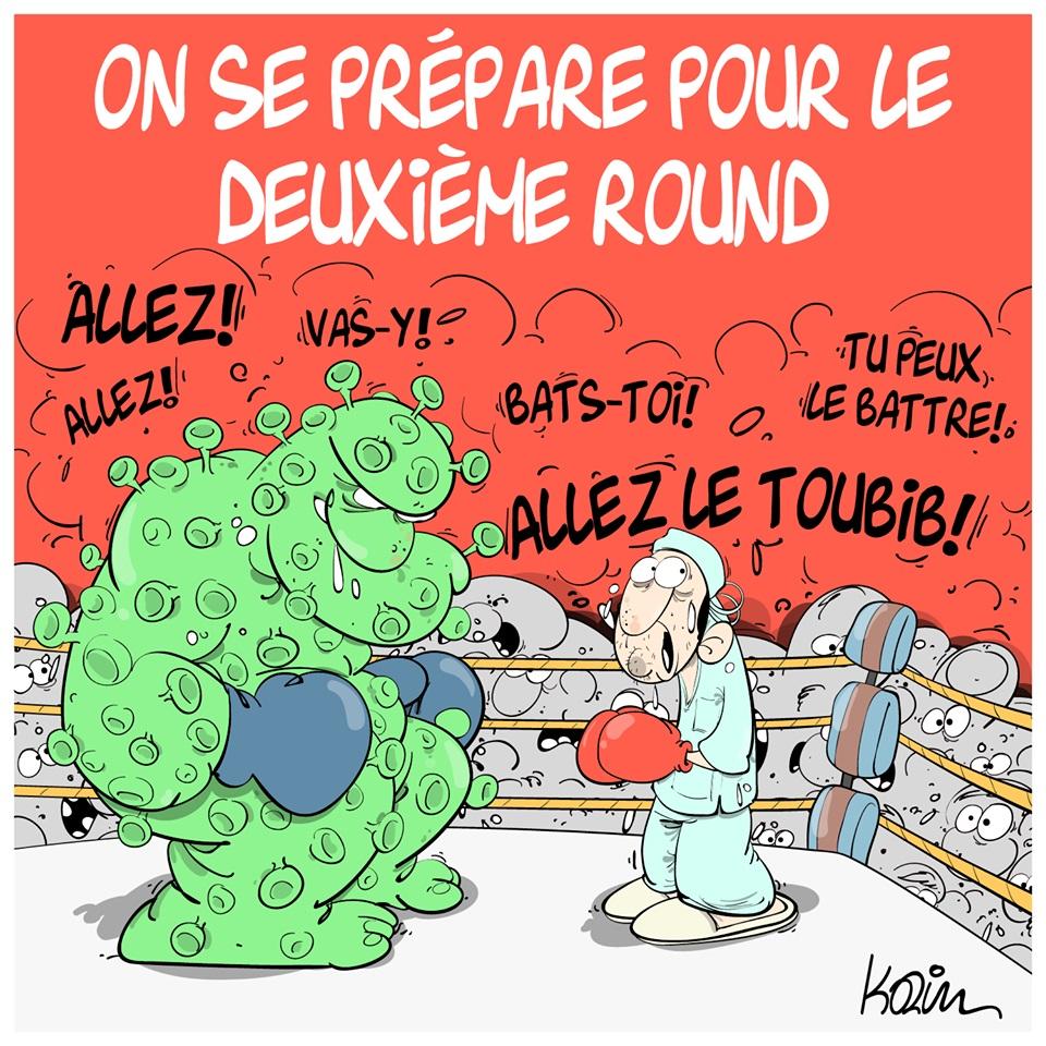 dessin d'actualité humoristique de Karim sur le coronavirus et la crainte d'une deuxième vague