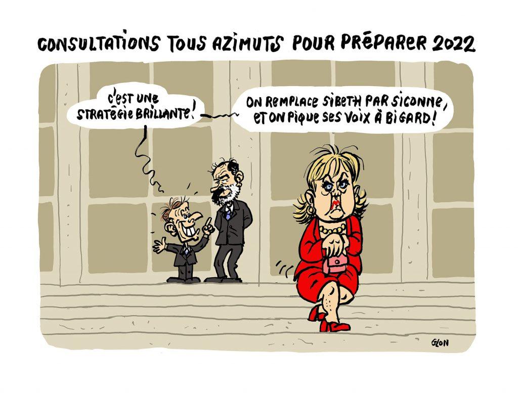 dessin humoristique de Glon sur Emmanuel Macron et la stratégie pour la présidentielle de 2022