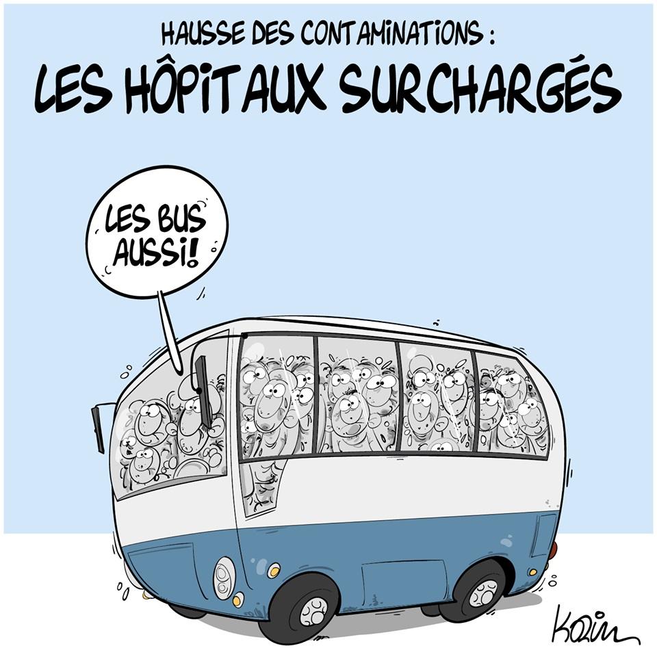 dessin d'actualité humoristique de Karim sur la surcharge hospitalière et les transports en commun