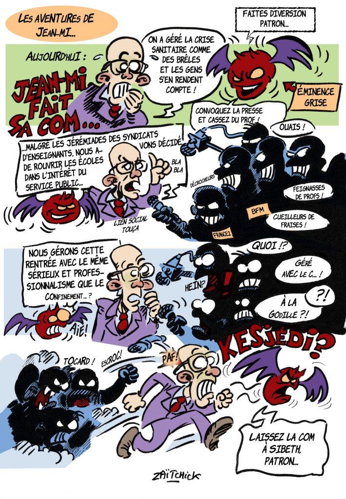 dessin de Zaïtchick sur Jean-Michel Blanquer et la gestion de la rentrée scolaire